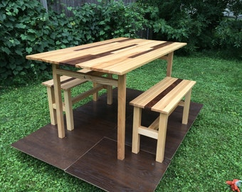 Hardwood dining table with benches
