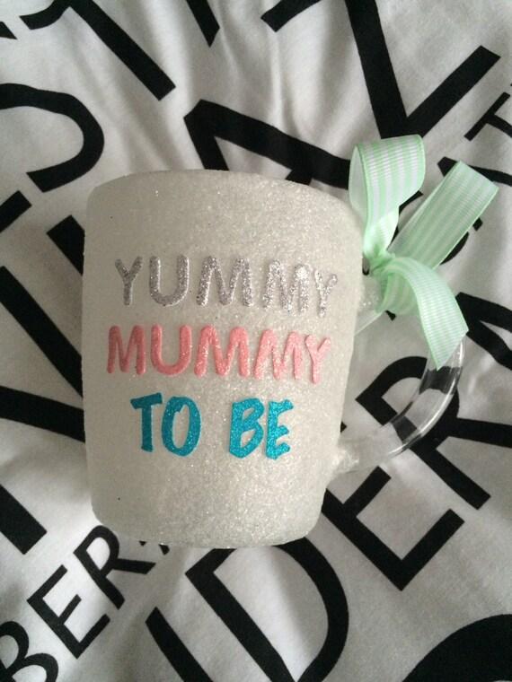 Beautiful mum to be hand glittered glass mug personslised