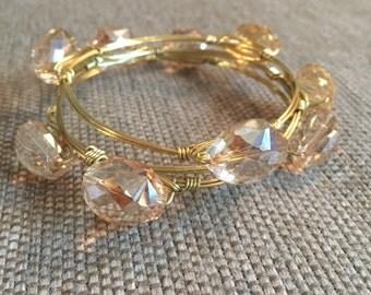 Champagne Crystal Bangle Bracelet