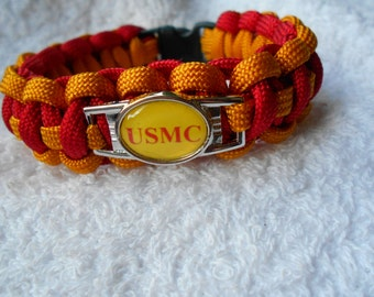 US Marine Corps Paracord Bracelet - Goldenrod Yellow & Red - Hand Made