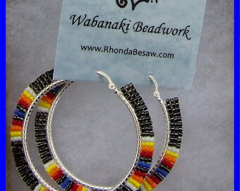 Hand Beaded on Sterling Silver Hoops
