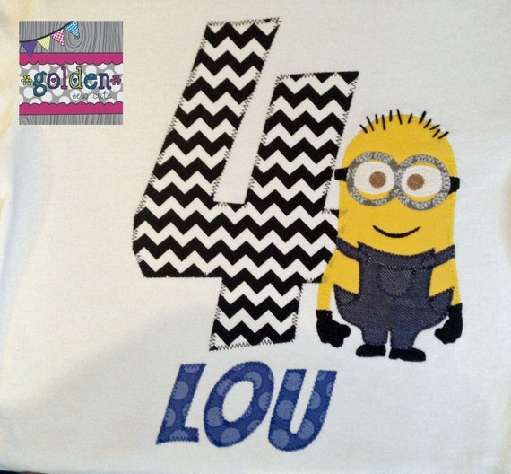 Minion Birthday Party Number Tee with Name