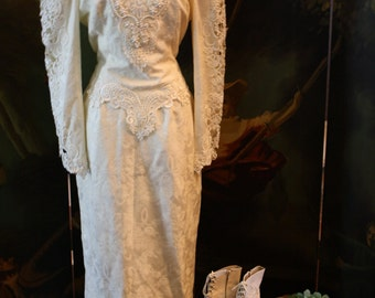 Rare Victorian Wedding Dress Jessica McClintock Bridal 80s 9 10 Steampunk Goth Reenactment Vintage