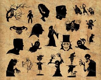 Digital SVG PNG halloween monsters, pumpkin , witch , ghost, Frankenstein, monster , skeleton, vector, clipart, instant download