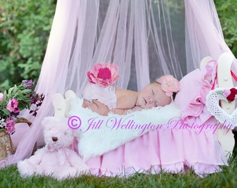 DIGITAL Background for Baby child infant newborn kid photo photography prop for photographers: Pink Newborn Bed