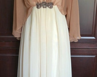 60's Vintage Emma Domb Sheer Goddess Style Cocoa Chiffon Cape Formal Gown Size 8