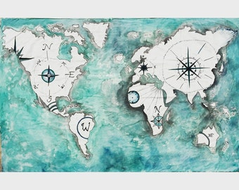World Atlas Tapestry Painting