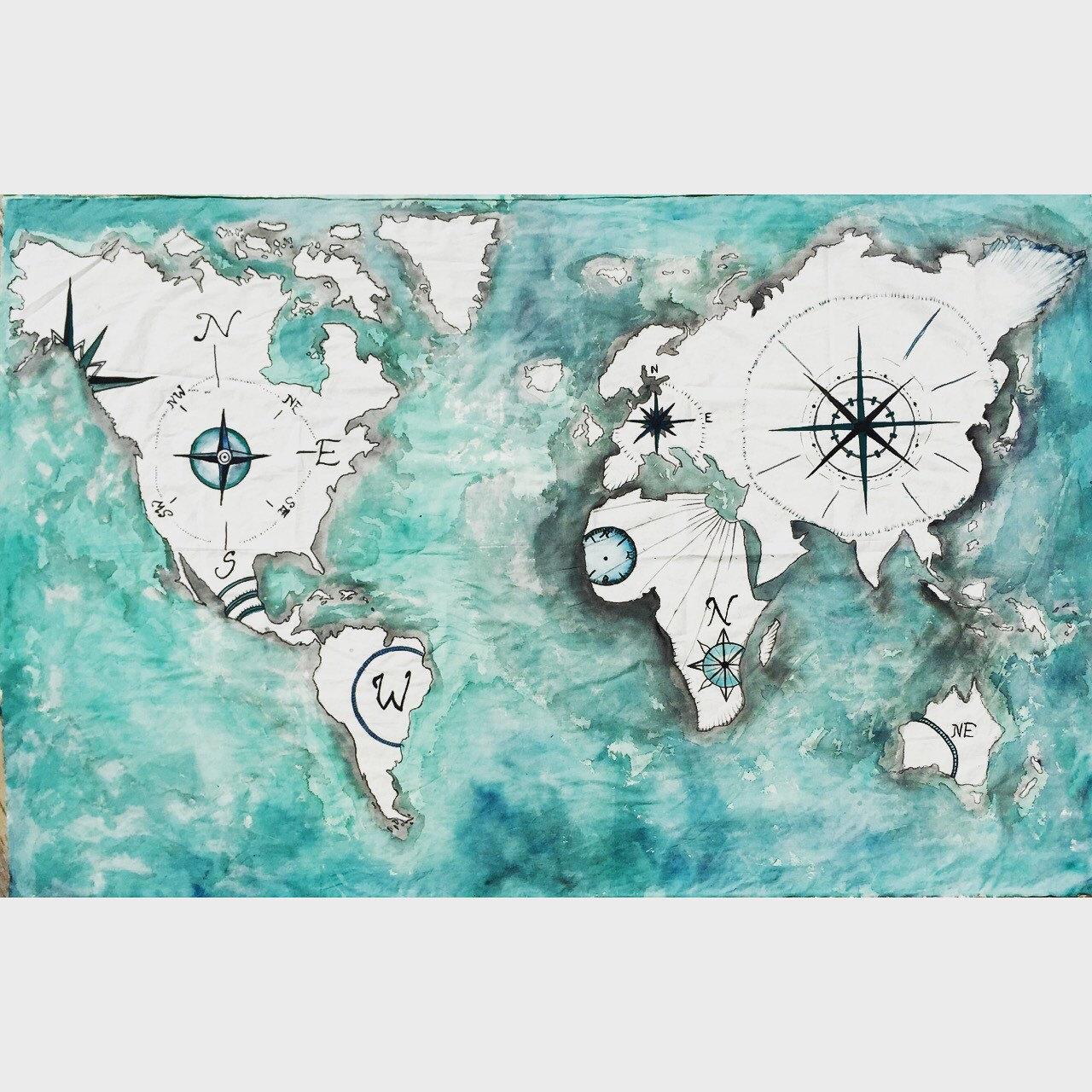 World Atlas Tapestry Painting