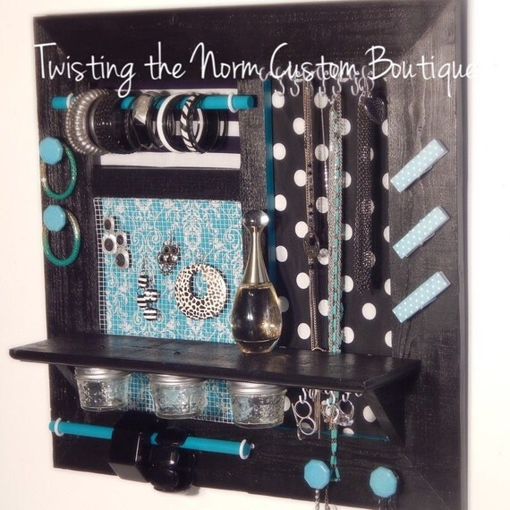 Items similar to large teal and black wall hanging jewelry for Teal and black bathroom decor