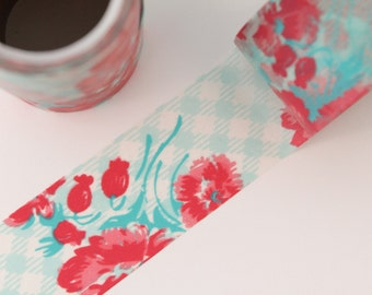Extra Wide Washi Tape - 1 Roll - Picnic Plaid and Vintage Floral Tape Pink Aqua Blue - 50mm X 5m
