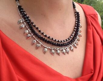 Necklace, Gemstone Necklace, Brass Necklace, Black Necklace,Gift for  Her