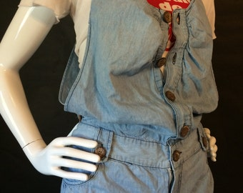Button Me Up Denim Shorts Romper