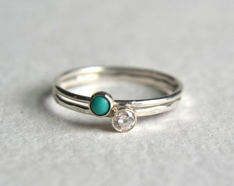 Set of Two Sterling Silver Turquoise Ring, Silver Turquoise Ring, Silver CZ Ring, Stacking Ring, Dainty Ring, Stackable Ring