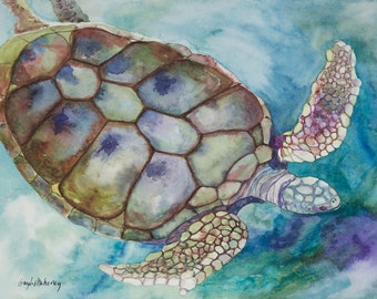 Xcaret Sea Turtle Limited Edition Giclée Print (unframed)