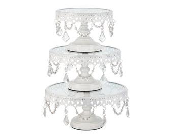 Cake Stand, White Cupcake Stand, Cake Stands, White Cake Stand Set, Crystal Cupcake Stand, Wedding Cake Stand, Cake Stand Vintage, Set of 3