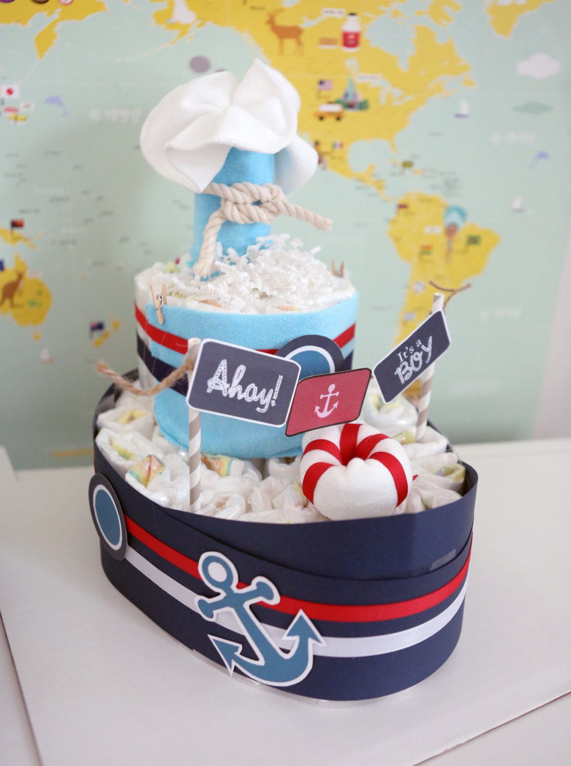 Nautical boat diaper cake for baby boy shower