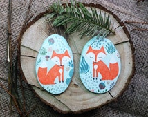 Fox magnet set,Wood magnet