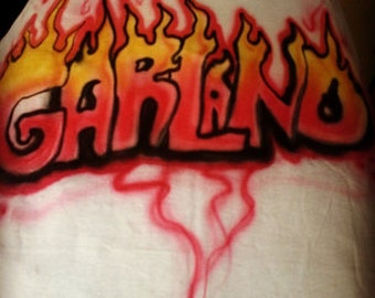 Personalized Name Flame Flame  Airbrushed T Shirt