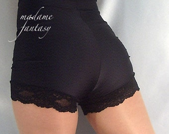 High waisted spandex shorts hot pants lace trim Goth