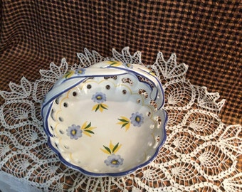 Portugese Ceramic Basket with Handle, Made in Portugal by RC & CL, Blue and Yellow Flower