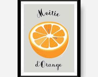 Orange fruit print. Retro poster style.
