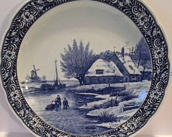 "Vintage Delft Royal Sphinx DUTCH HOLLAND Blue & White 16"" Charger/Platter Plate. Winter Scene"