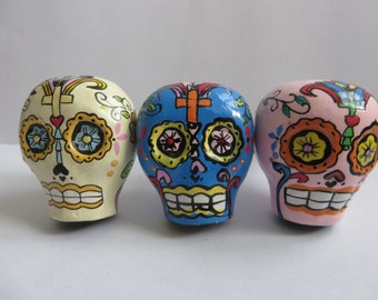 NEW. Set of 3 Charming, Handmade Mexican Day of the Dead inspired style drawer knobs. Celebrate the dearly departed.