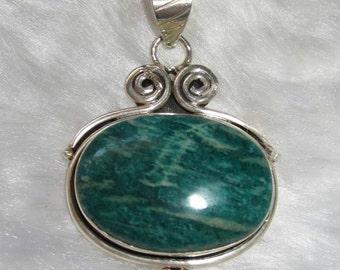 Amazonite and silver pendant