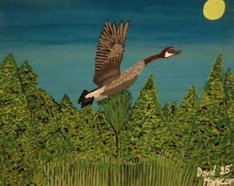 Peaceful Flight Original Watercolour Painting. Canada Goose Flying, Night Sky. (SFA) Small Format Art. 8x10 inches
