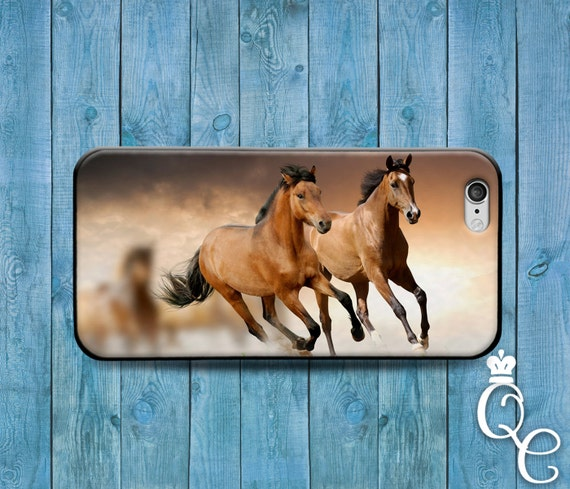 iPhone 4 4s 5 5s 5c SE 6 6s 7 plus iPod Touch 4th 5th 6th Gen Beautiful Light Dark Brown Horses Running Phone Case Cute Custom Animal Cover