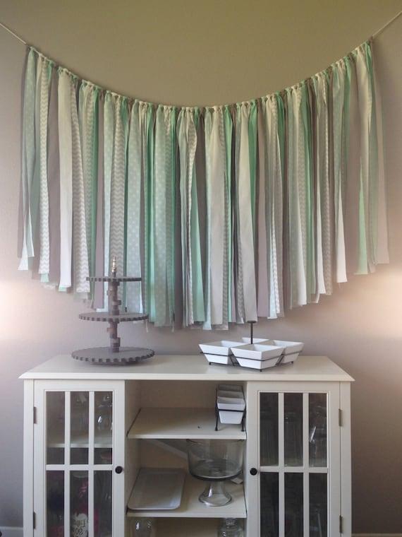 mint fabric banner bunting garland photo prop wedding birthday backdrop home decor