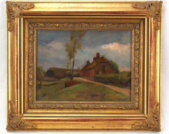 Early 20th Century Impressionist Painting Farmhouses on Country Lane