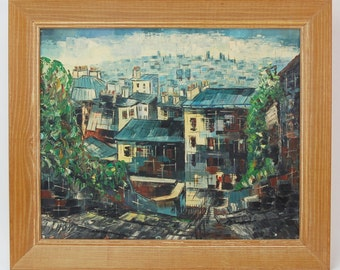 Mid-century Cityscape Oil Painting by Janos Orosz Hungarian Artist