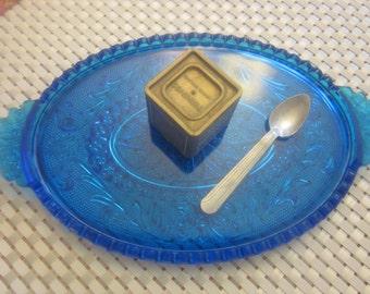 BLUE GLASS Serving Tray PLATTER