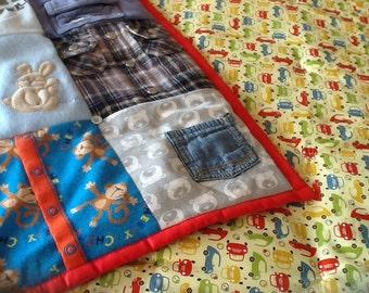 Handmade keepsake quilt made from favourite children's clothing