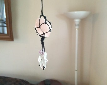 Rose Quartz Macrame Knotted Crystal Healing Necklace
