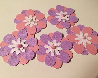 Pink and Purple Paper Flowers / Flower Embellishments Set of 5