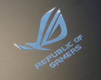 Asus REPUBLIC OF GAMERS Label / Aufkleber / Sticker / Logo 50mm x 41mm [189c]
