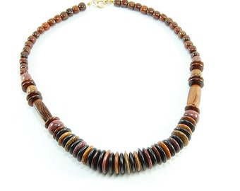 Mixed Tropical Wood Round Necklace