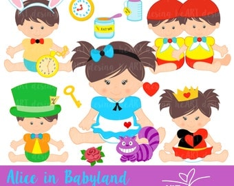 Alice in Babyland Digital Clipart / Digital Clip Art for Commercial and Personal Use / INSTANT DOWNLOAD