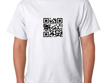 Personised QR Code T-Shirt. Create your own secret personal message Test On Pic