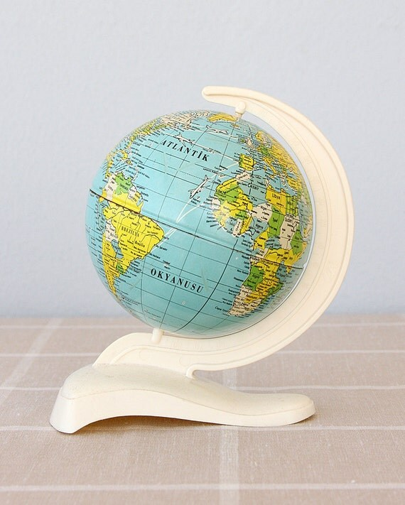 Vintage Tin Globe 1960's Metal world globe German globe Made in Western Germany Students small collectible globe Back to school Old school
