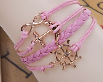 pink nautical infinity bracelet