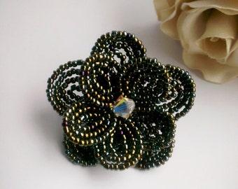 Rainbow metalic color beaded flower hair clip, flower brooch  (french beaded flower brooch, french beaded flower hair clip)