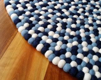 90cm  300cm Handmade 100% Wool Navy Blue And White Colour Felt Ball Rug  Nursery