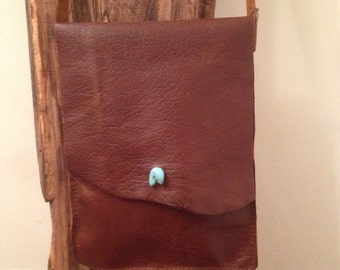 Brown leather crossbody bag, Turquoise