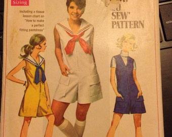 Vintage Simplicity Junior's Jumpsuit-size 11 Petite (34-25 1/2-35)