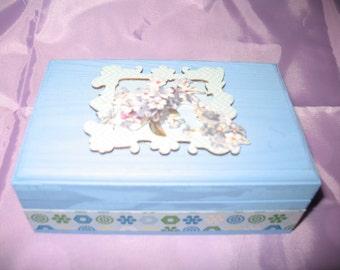 wooden blue flower detail jewellery / trinket box