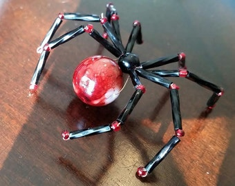 Beaded Black Widow Spider