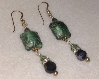 14k Gold Filled -- Ceramic Turtle & Swarovski Crystal Drop Earrings -- Green / Jet Black